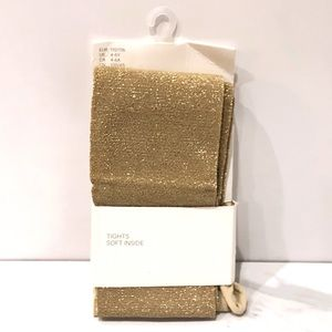 H&M Glittery Tights Gold Sparkle Girls 4-6Y